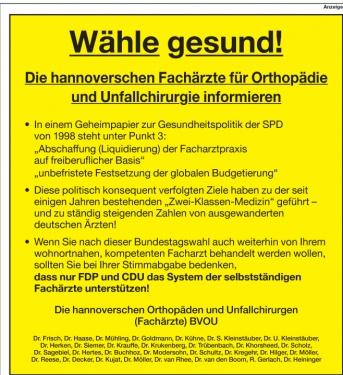 Anzeige der Ärzte für Schwarz-Gelb