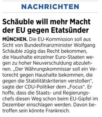 Schäuble will Macht